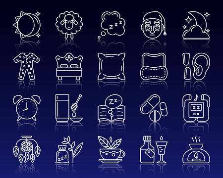 Insomnia thin line icons set. Outline sign kit of sleep awake. Sleepless linear icon collection includes sleepy syrup, candle, lamp. Simple insomnia white contour symbol reflection vector Illustration