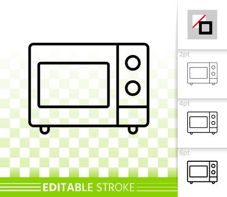 Icona di sottile linea di microonde. Segno di contorno del forno. Pittogramma lineare elettrodomestico da cucina, larghezza di corsa diversa. Simbolo trasparente di vettore semplice degli articoli da cucina. Icona di tratto modificabile a microonde senza riempimento