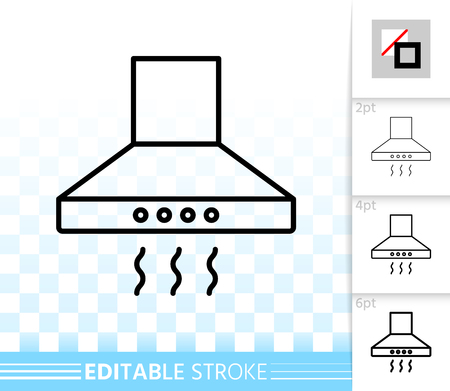 Cooker hood thin line icon. Outline web sign of exhaust hood. Ventilation linear pictogram with different stroke width. Simple vector transparent symbol. Cooker hood editable stroke icon without fill