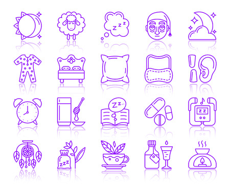 Insomnia thin line icons set. Outline vector web sign kit of sleep awake. Sleepless linear icon dreamcatcher, dream book, medicine pills. Simple insomnia color contour symbol with reflection isolated