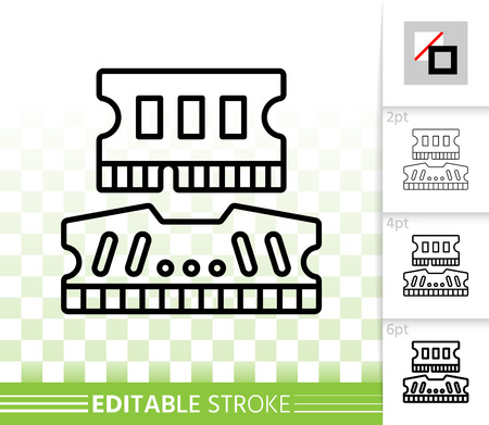 Ram thin line icon. Outline web sign of pc memory. Ddr Module linear pictogram with different stroke width. Simple vector symbol, transparent background. Design Ram editable stroke icon without fill
