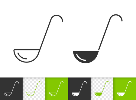 Ladle black linear and silhouette icons. Thin line sign of cooking. Soup outline pictogram isolated on white, color, transparent background. Kitchen ware vector icon. Ladle simple symbol closeup