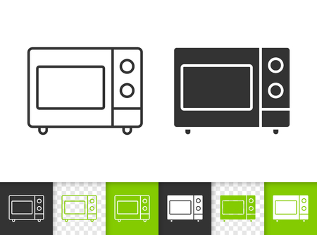 Microwave black linear and silhouette icons. Thin line sign of oven. Kitchen appliance outline pictogram isolated on white, transparent background. Vector Icon shape. Microwave simple symbol closeup