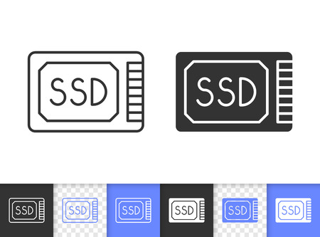 Ssd storage black linear and silhouette icons. Thin line sign of hard disk. Drive outline pictogram isolated on white, color transparent background. Vector Icon shape. Ssd memory simple symbol closeup Illustration