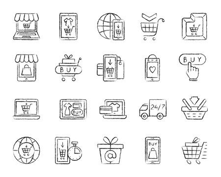 Conjunto de iconos de carbón de tienda online. Kit de signo de contorno de grunge de comercio electrónico Internet Comprar botón de pantalla de icono lineal, tableta de pago en línea. Dibujado a mano por pastel crayón simple tienda web símbolo ilustración vectorial