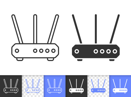Wi-fi router black linear and silhouette icons. Thin line sign of modem. Wireless internet outline pictogram isolated on white, transparent background. Vector icon of router simple symbol closeup