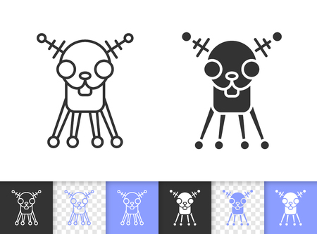 Robot Dog black linear and silhouette icons. Thin line sign of chihuahua. Artificial Intelligence outline pictogram isolated, transparent backdrop. Vector Icon shape. Robot Dog simple symbol closeup