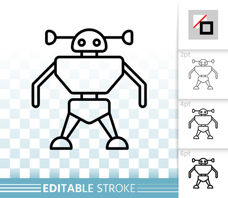 Robot thin line icon. Outline web sign of kids toy. Spaceman linear pictogram with different stroke width. Simple vector symbol, transparent background. Robot editable stroke icon without fill