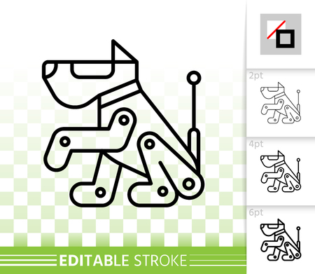 Robot Dog thin line icon. Outline sign of scottish terrier. Boxer linear pictogram with different stroke width. Simple vector symbol transparent background. Robot Dog editable stroke icon without fill