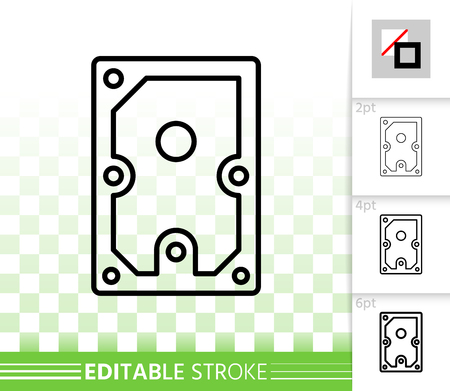 Hard Drive thin line icon. Outline sign of solid disk. Internal Hardware linear pictogram with different stroke width. Simple vector symbol, transparent. Hard Drive editable stroke icon without fill Vettoriali