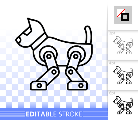 Robot  thin line icon. Outline web sign of kids toy. linear pictogram with different stroke width. Simple vector symbol transparent backdrop. Robot  editable stroke icon without fill