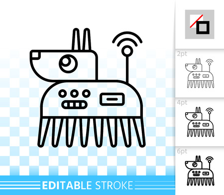 Robot Dog thin line icon. Outline sign of west highland white terrier. Ai linear pictogram with different stroke width. Simple vector transparent symbol. Robot pet editable stroke icon without fill