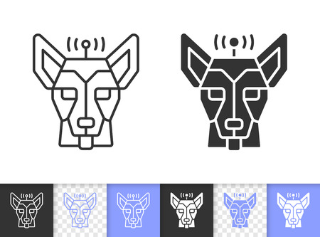 Robot  black linear and silhouette icons. Thin line sign of german shepherd.  outline transparent pictogram isolated on white. Vector Icon shape. Head of robot  simple symbol closeup