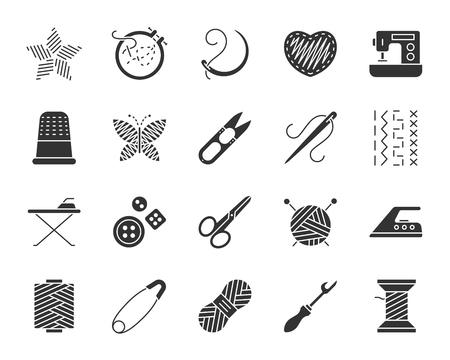Needlework silhouette icons set. Sign kit of embroidery. Handiwork pictograms of stitch pattern, ironing board, curved needle. Simple needlework black symbol on white. Vector Icon shape for stamp