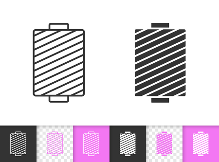 Sewing Thread black linear and silhouette icons. Thin line sign of spool. Yarn outline pictogram isolated on white color, transparent background. Vector Icon shape. Sewing Thread simple symbol closeup Иллюстрация