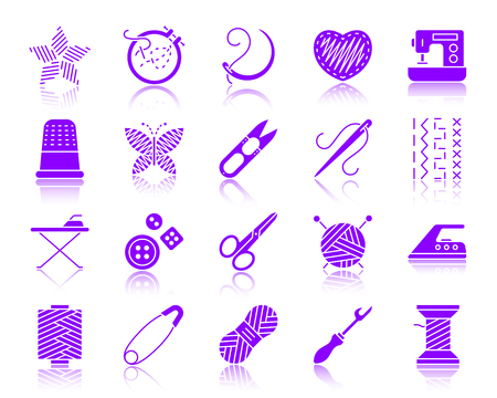 Needlework silhouette icons set. Web sign kit of embroidery. Handiwork pictogram wool, iron steamer, scissors. Simple needlework contour symbol with reflection. Vector Icon shape isolated on white