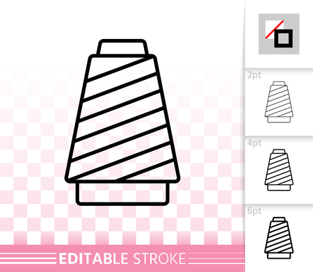 Sewing Thread thin line icon. Outline web sign of spool. Yarn linear pictogram with different stroke width. Simple vector symbol transparent background. Sewing Thread editable stroke icon without fill
