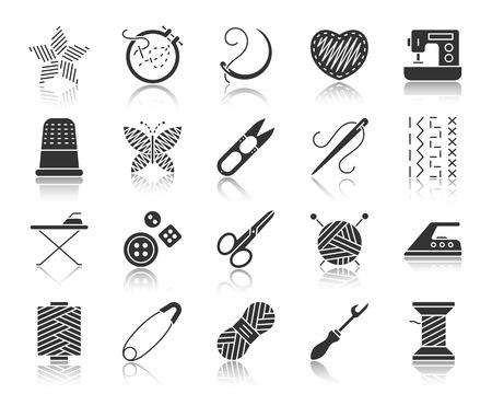Handarbeit Silhouette Symbole gesetzt. Zeichensatz der Stickerei. Die handgefertigte Piktogrammkollektion umfasst Stickrahmen, Fingerhut und Quernaht. Einfaches schwarzes Vektorsymbol. Handarbeit Form Symbol mit Reflexion