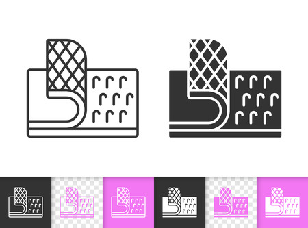 Velcro Fastener black linear and silhouette icons. Thin line sign of hook. Loop Texture outline pictogram isolated on white transparent background. Vector Icon of  Fastener simple symbol closeup