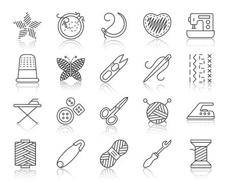 Handarbeit dünne Linie Symbole gesetzt. Umrissschildsatz der Stickerei. Die handgefertigte lineare Symbolkollektion umfasst Wollfäden und Häkelgarn. Einfaches Nadelarbeitssymbol mit Reflexionsvektorillustration