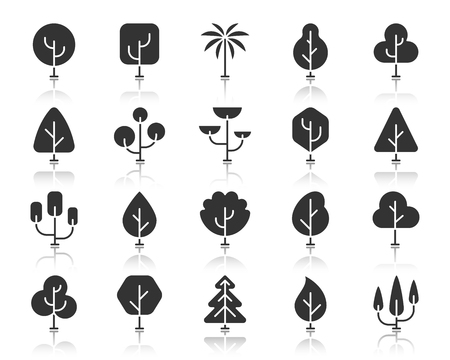 Abstract trees of different shapes icon set. Sign kit of nature bio forest. Eco plant pictogram collection includes growth bush, autumn season. Simple vector black symbol. Tree icons with reflection