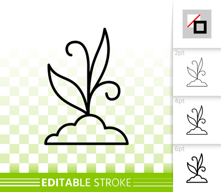 Grass thin line icon. Outline sign of bush. Organic plant linear pictogram with different stroke width. Green sprout simple vector symbol, transparent backdrop. Grass editable stroke icon without fill