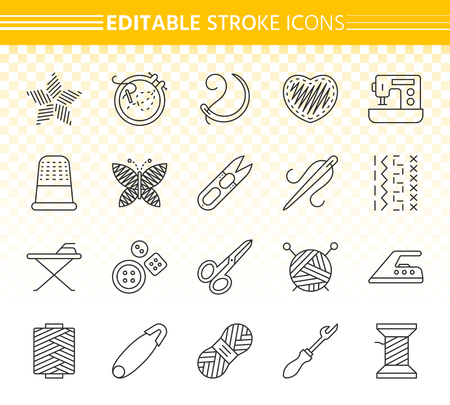 Needlework thin line icon set. Outline sign kit of embroidery. Handiwork linear icons includes wool, sewing machine, needle. Editable stroke without fill. Needlework simple contour vector symbol