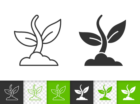 Organic plant black linear and silhouette icons. Thin line sign of green grass. Sprout outline pictogram isolated on white color, transparent background. Vector Icon shape. Plant simple symbol closeup
