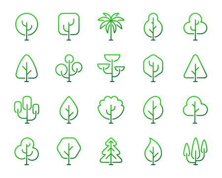 Geometric Trees thin line icons set. Outline vector sign kit of graphic plant. Larch Forest linear icon collection nature wood, green oak, botany pine. Gradient simple geometric trees symbol isolated Illustration
