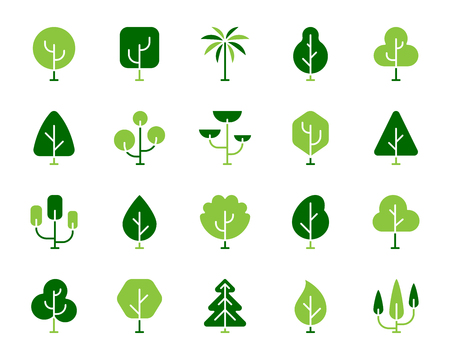 Geometric Trees silhouette icons set. Isolated on white sign kit of graphic plant. Larch Forest pictogram garden, palm, larch forest. Simple geometric trees contour symbol. Vector Icon shape for stamp