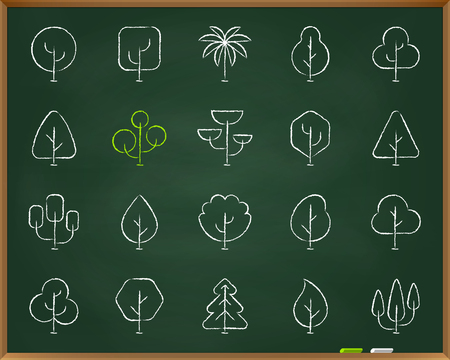 Geometric Trees chalk icons set. Outline sign kit of graphic plant. Larch Forest linear icon environment, fir. Hand drawn by pastel crayon simple geometric trees symbol chalkboard vector Illustration