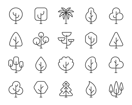 Abstract tree thin line icons set. Outline sign kit of nature forest. Geometric plant linear icons of eco fir, birch branch spruce crown. Simple abstract tree black symbol isolated Vector Illustration