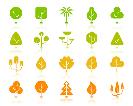Geometric Trees silhouette icons set. Sign kit of graphic plant. Larch Forest pictogram cedar, agriculture, conifer. Simple geometric trees contour symbol with reflection. Vector Icon shape isolated Illustration