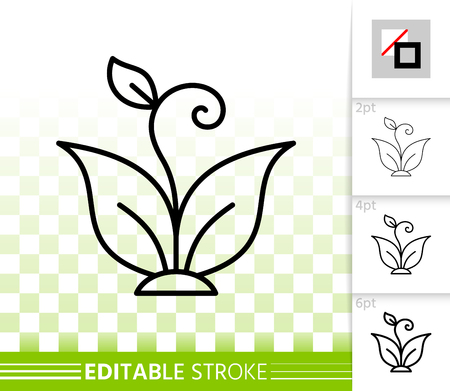 Eco sprout thin line icon. Outline web sign of flower. Organic Plant linear pictogram with different stroke width. Simple vector symbol transparent background. Sprout editable stroke icon without fill
