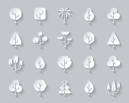 Geometric Trees paper cut icons set. 3D sign kit of plant. Larch Forest pictogram collection includes cedar, conifer spruce Simple geometric trees vector paper carved icon shape Material design symbol
