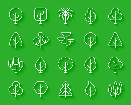Geometric Trees paper cut line icons set. 3D sign kit of graphic plant. Larch Forest linear pictogram cedar, conifer spruce Simple geometric trees vector paper carved icon shape Material design symbol Illustration