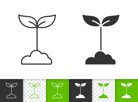 Green leaves black linear and silhouette icons. Thin line sign of sprout. Grass outline pictogram isolated on white color, transparent background. Vector Icon shape. Green Leaves simple symbol closeup Stock Illustratie
