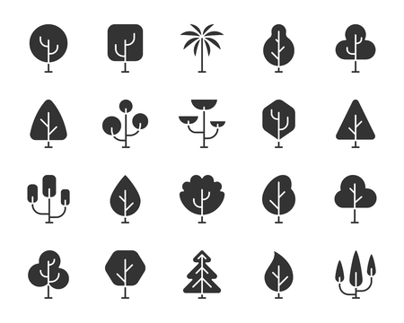 Abstract Tree icons set. Sign kit of nature forest. Geometric Plant pictogram collection includes eco fir, environment leaf, cute organic. Simple abstract tree black symbol isolated vector Icon shapes
