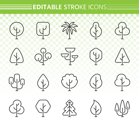 Abstract Tree thin line icons set. Outline sign kit of nature forest. Plant linear icons includes pine alone, spring wood, summer park. Editable stroke without fill. Tree simple contour vector symbol