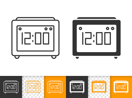 Clock black linear and silhouette icons. Thin line sign of watch. Timer outline pictogram isolated on white, color, transparent background. Vector Icon shape device. Alarm clock simple symbol closeup