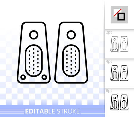 Speaker thin line icon. Outline web sign of music. Sound System linear pictogram with different stroke width. Simple vector symbol, transparent background. Speaker editable stroke icon without fill