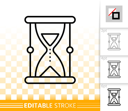 Sand Glass thin line icon. Outline sign of hourglass. Antique Watch linear pictogram with different stroke width Simple vector symbol, transparent backdrop Sand Glass editable stroke icon without fill