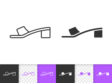 Women shoes black linear and silhouette icons. Thin line sign of summer sandals. Low sole outline pictogram isolated on white, color, transparent. Vector Icon shape. Women Shoes simple symbol closeup