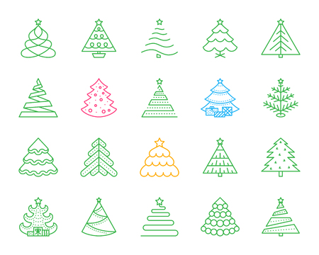 Christmas Tree thin line icons set. Outline monochrome web sign kit of stylized spruce. Fir Farm linear icon, fir xmas, pine. Simple christmas tree color contour symbol isolated. Vector Illustration