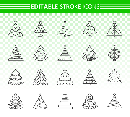 Christmas tree thin line icons set. Outline sign kit of xmas trendy. Stylized linear icons includes fir, spruce, pine. Editable stroke without fill. Christmas Tree simple contour vector symbol
