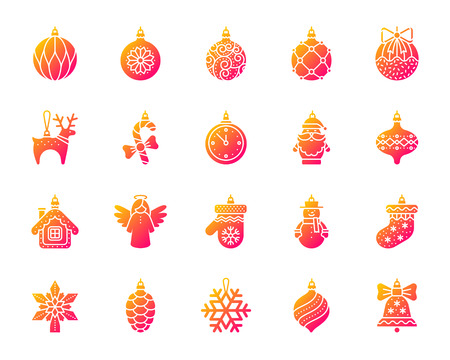 Xmas Tree Decorations icon set. Isolated on white sign kit of hang christmas ball. Pictograms of gift stocking, topper star, deer. Modern gradient simple contour symbol. Xmas Tree Decor vector icon Illustration
