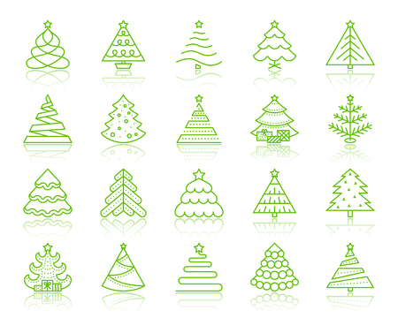 Christmas Tree thin line icons set. Outline vector sign kit of stylized spruce. Fir linear icon collection present, ball. Simple christmas tree color contour symbol with reflection isolated on white