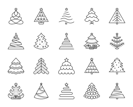 Christmas Tree thin line icon set. Outline sign kit of xmas trendy. Spruce Stylized linear icons of pine cone, stand skirt, gift ball. Simple christmas tree black symbol isolated Vector Illustration 일러스트