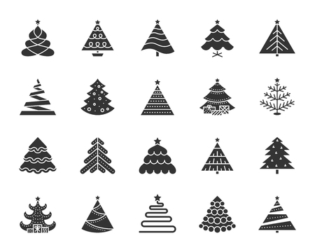 Christmas Tree icons set. Sign kit of xmas trendy. Spruce stylized pictogram collection includes garland glitter pine farm gift ball. Simple christmas tree symbol isolated. Vector Icon shape for stamp