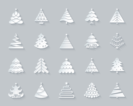 Christmas Tree paper cut art icons set. 3D web sign kit of stylized spruce. Fir Farm pictogram collection ball, fir, spruce Simple christmas tree vector paper carved icon shape. Material design symbol 일러스트